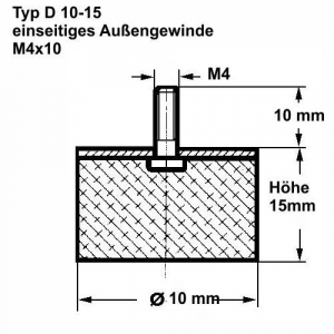 Gummipuffer Ø 20x25 M6x18 Schwingungsdämpfer Gummi Puffer Silentblock GMP-05