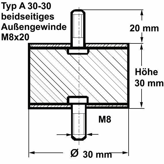 H/öhe 20 mm beidseitig Innengewinde M6 mm Gummipuffer Typ C /Ø 25 mm 12 Stck 6 mm tief Naturkautschuk Shoreh/ärte 55/° Metallteile Stahl verzinkt