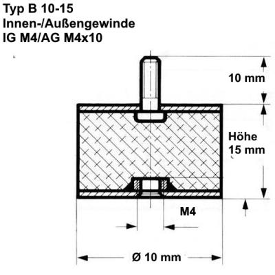 10 x Gummipuffer Typ E /Ø15mm 15mm hoch M5 WTB/® Gummimetallpuffer mit einseitigem Innengewinde Metallteile Stahl verzinkt Naturkautschuk H/ärte 55/°Shore