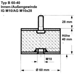 Schraube M8x28 Höhe 61mm Anschlagpuffer Ø50 Härte 40